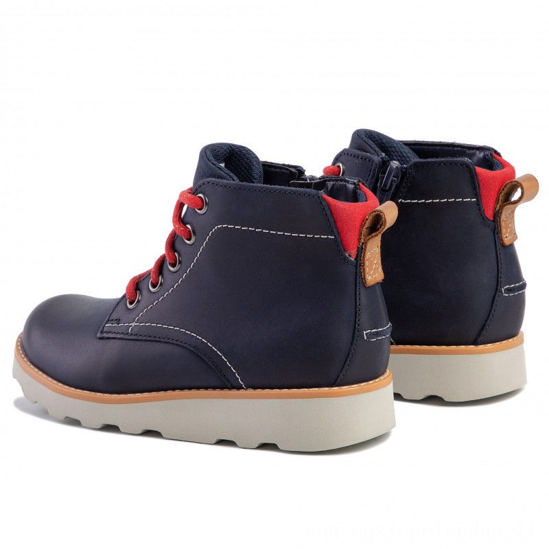 Clarks Polacchi Crown Hike K 261455907 Navy Leather A buon mercato
